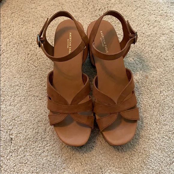 American Eagle Outfitters Shoes - Brown strappy wedges/ platform sandals